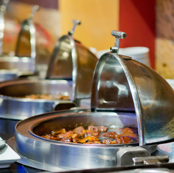 hot food served in a high end buffet style